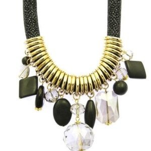 Chunky Bead Bib Black and Gold Evening Necklace